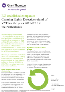 EU established companies - Claiming eight Directive refund of VAT for the years 2011-2015 in The Netherlands